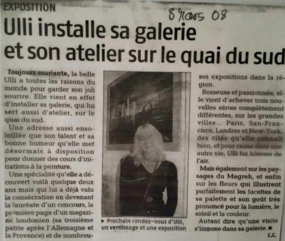 Article dans le journal La Provence Mars 2008