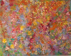 14 fleurs rouge doré 92x73cm. Vendu